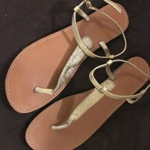 Gap gold glittery sandals Size 10